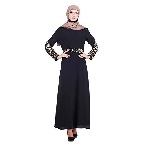 (B-commerce Damen Volles Moslemisches Kleid Chic Frauen Kaftan Abaya Schlanke Moslemische Partykleider Kaftan Abaya Modal Patchwork Streifen Langes Kleid)