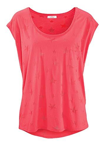 ELFIN Damen T-Shirt Kurzarmshirt Basic Tops Ärmelloses Tee Allover-Sternen Ausbrenner Shirt Sommer Shirt XX-Large Korallenrot