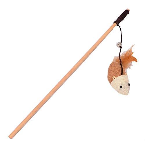 Healthy Clubs Katzenspielzeug Katzenangeln Spielangel Stange Stab mit Plüschmaus Glocke Feder