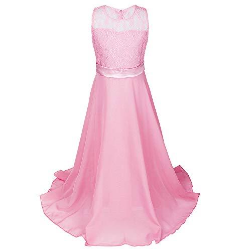 448cda4fb6802 Discoball Girls Lace Dress Chiffon Gown Dress Floor Length Dress Wedding  Bridesmaid Flower Girl Long Dress