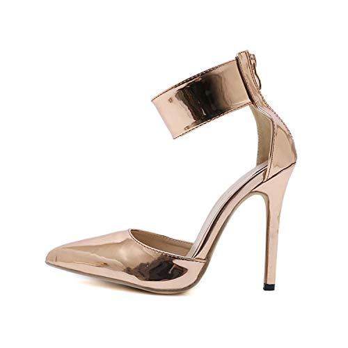 Champagne-Frauen-Pumpen Zipper Spitzschuh-Absatz-reizvolle Dame Schuhe dünne Fersen, Champagner, 6 (Rockport-pumpen-frauen-schuhe)