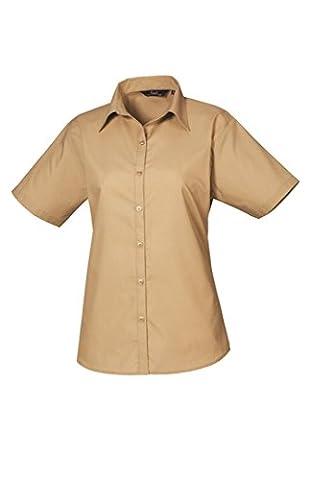 Premier Ladies Short Sleeve Poplin Blouse Khaki 14