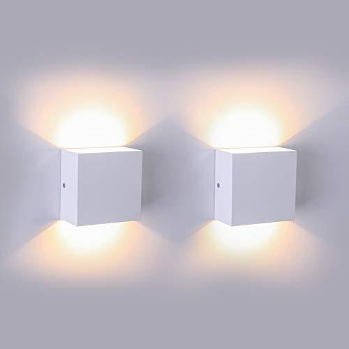 Led applique da parete interno 7w/aourow lampada da parete moderna/applique led in alluminio bianco caldo 3000k,560lm,ideale uplighter downlighter per soggiorno/camera da letto/corridoio/bagno,2pz