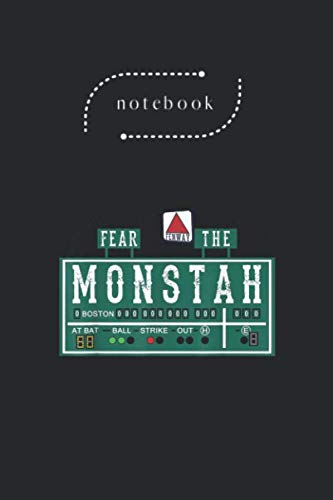 Notebook: Fan Of Fenway Boston Baseball Monster Fear The Monstah Blank Content Black Cover Art Design Notebook Journal Gifts with College Lined for ... Size 6in - 9in - 125 Pages Write in Take Note