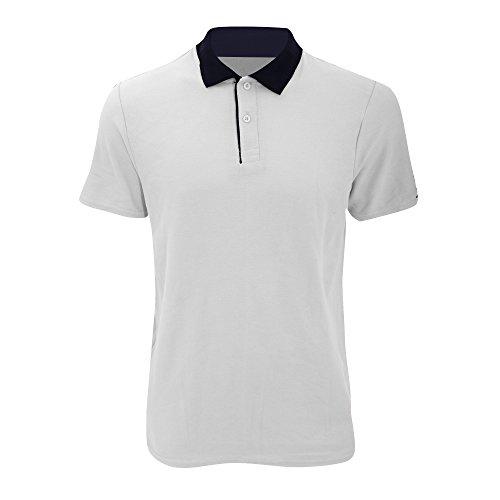 anvil Herren Fashion Basic Polo Piqué / 6280 Weiß/Marineblau