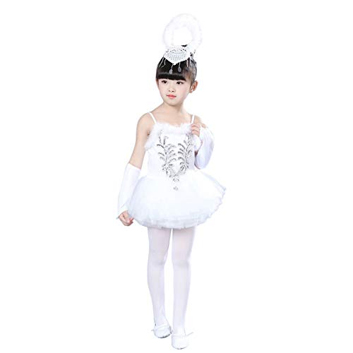 Huatime Tanz Kleidung Mädchen Kleider - Ballett Glitter Pailletten Perlen Ballerina Tänzer Trikot Prinzessin Kostüme Wenig Schwan Lust Auf Tanzen Tutu Rock Ärmellos (Kostüm Weniger Für)
