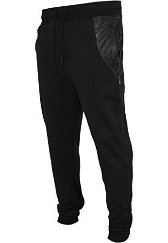 URBAN cLASSICS-side pantalon zip pocket en cuir (noir/noir) Noir - Noir/noir