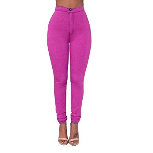 Internet Damen Denim Jeans neue Art und Weise multi Farben Mädchen beiläufige Jeans Hosen (L, hot pink)