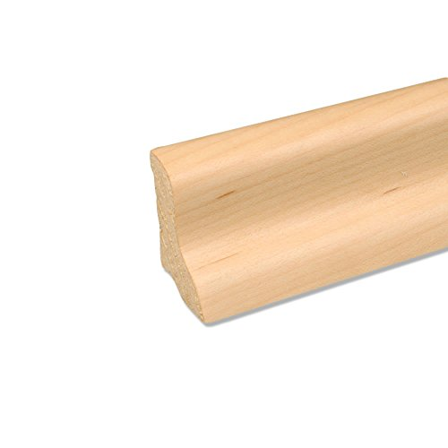 Echtholz Profil-Sockelleiste Fußbodenleiste aus Kiefer-Massivholz in Ahorn furniert 2500 x 20 x 40 mm (Dübel Holz Ahorn)