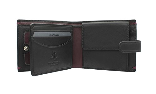 Visconti ALPINE Kollektion LUCERNE Brieftasche Leder, mit Laschenverschluss AP63 Schwarz/Burgund