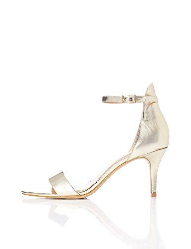find. Sandali con Cinturino alla Caviglia Donna, Oro (Gold), 37 EU