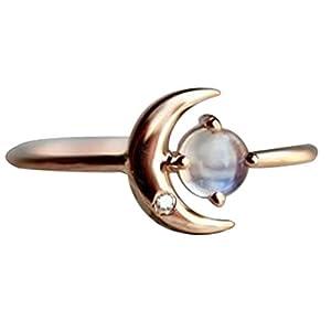 YSoutstripdu Fashion Mond Strass Inlay Damen Schmuck Geschenk Charm Party Dünn Finger Ring Geschenk