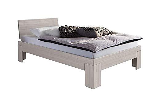 Weiße Holz-schlafzimmer-kopfteil (SAM Design Schlafzimmer-Bett 120x200 cm Sienna, massiv Kern-Buche-Holz weiß, geölt, lackiert, geschlossenes Kopfteil)