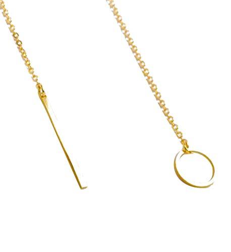OdeJoy Heiß Damen Kreis Lasso Stil Halskette Schmuck Kette Einfach Metall Ring Kurzer Absatz Halskette Silber Einzigartiges Design Anhänger Halskette Für Geschenk Zubehör (1 PC, Gold)
