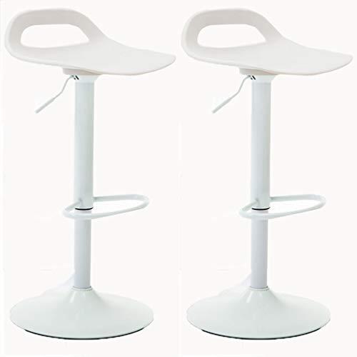 LIU RUOXI Set Von 2 Leder Verstellbaren 360 ° Schwenk Stangen Hocker, Theke Höhe Küche Essstühle, Schwarz,White,A - Schwenk Hoch Hocker
