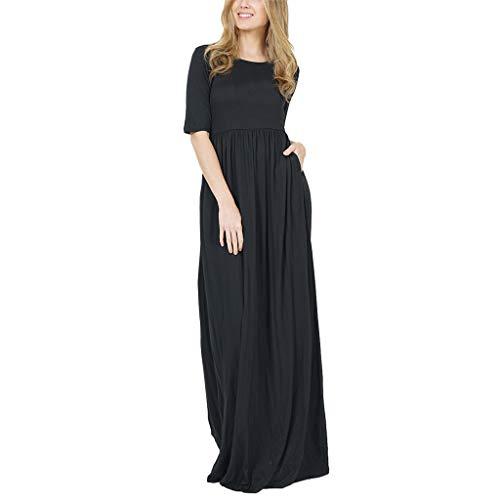 iYmitz Damen Sommer Kleid mit hoher Taille Abendkleid V-Ausschnitt Rock Schmales Ballkleid Stretchkleid 3/4-Arm Minikleid Tops(Schwarz,EU-34/CN-S)