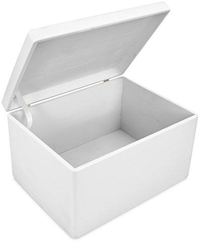Große Holzkiste mit Deckel für Aufbewahrung - Kiefer Weiß Lackiert - ca. 40 x 30 x 24 cm - FSC zertifiziert - Grinscard