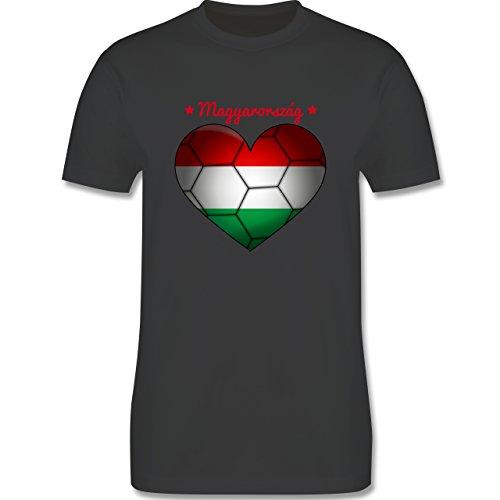 Handball - Handballherz Ungarn - Herren Premium T-Shirt Dunkelgrau