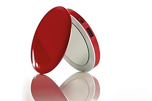 Hyper  pearl - caricabatterie portatile da 3000 mah con doppio specchietto illuminato a led, rosso