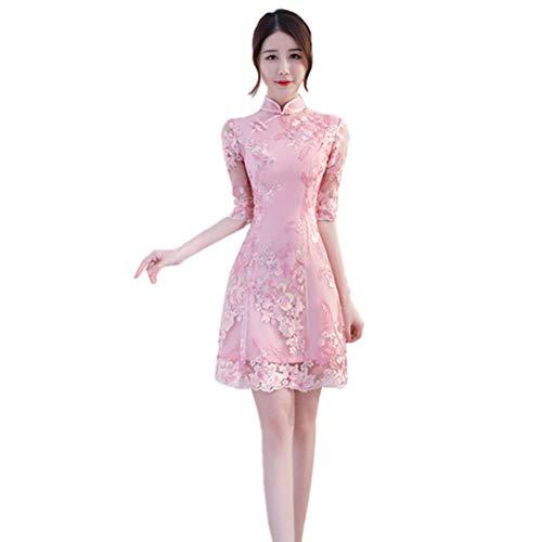 Qipao Kostüm Chinesische - Geisha Kostüm Damen Stickerei Chinesisches Kleid Damen Kleider Kleid Kurz Cheongsam Chinesisch Qipao,DX002,S