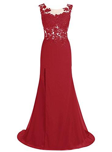 Bbonlinedress Robe de cérémonie Robe de soirée avec appliques en dentelle traîne moyenne Rouge Foncé