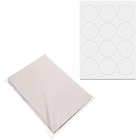 Cablematic - Etichette rotonde bianche adesive per stampanti A4 63.5mm 100 fogli
