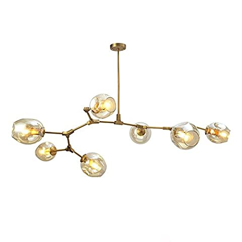 DDNL Modern Creative Tree Chandelier Industria,Vintage Industrial Alloy Pendant Light 7-head Flush Mount Ceiling Lamp for Living Room, Bedroom,Dining