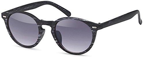 Balinco Runde Vintage Sonnenbrille im angesagten Unisex Rund für Herren & Damen - Retro Brille (Holzoptik - Schwarz/Weiß)