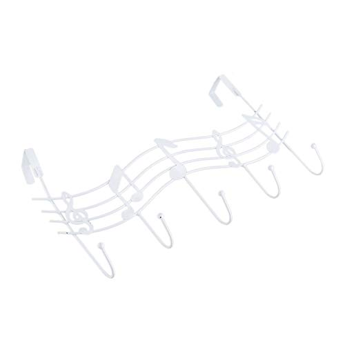 Xigeapg Kreative Eisen Musical Note Tor Haken Starke Wand Kleiderbuegel Haken Kostenloser Nagel (Weiss) (Note Kleiderbügel)