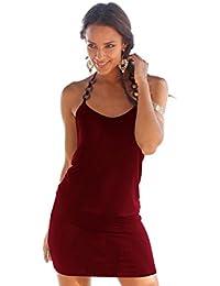 Donna Vestiti Eleganti Estivi Corti V Scollo Senza Maniche Vestito Mare  Puro Colore Slim Casual Abito 07f007c99fb