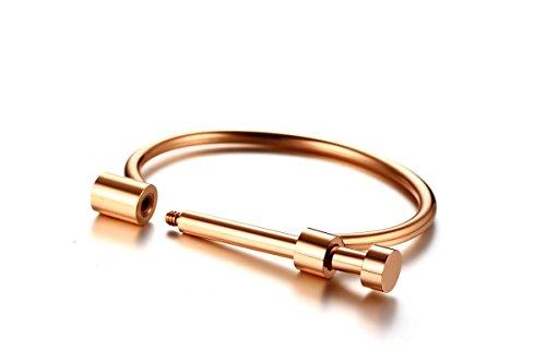 AieniD Gioielli Oro Rosa Titanio Bracciale per Donne Non Standard di Forma Vacanza Bracciale Dimensione:6X0.4CM Peso:30.5G
