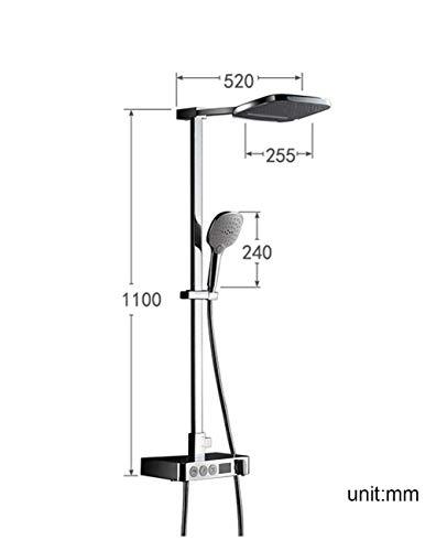 SEEKSUNG Wasserhahn Intelligentes thermostatisches Bad-Duschsystem mit Temperaturanzeige, Regendusche-Mischer-Set mit Top Showerhead 3-Modus-Handbrause Wasserhahn