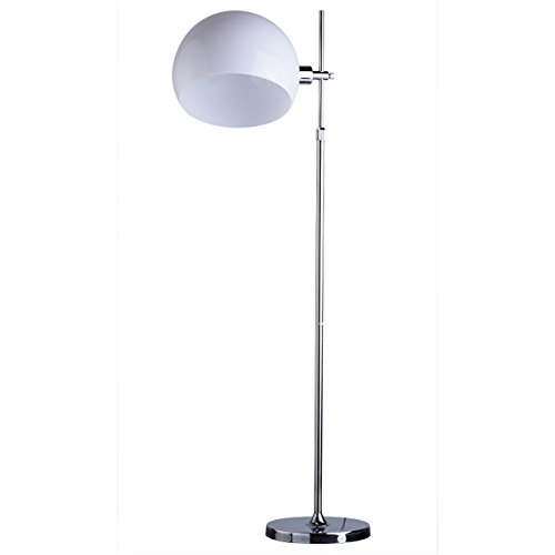 W Stehlampe Leselicht (Moderne urbane Stehleuchte 1 - flammig chromfarbiges Metall reinweißer Schirm aus Acryl drehbar höhenverstellbar 184cm hoch Leselicht grelles direktes Licht für Büro Wohnzimmer Schlafzimmer exkl.1*60W E27)