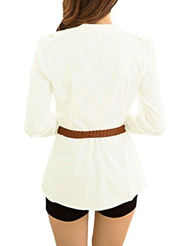 sourcingmap Femme Col Montant Manches Longues Mousseline de soie Chemise Tunique ceinture T Blanc