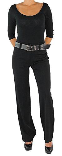 Damen Business Hose + Gürtel Schlaghose Stoffhose Elegant Classic in 5 Farben Schwarz