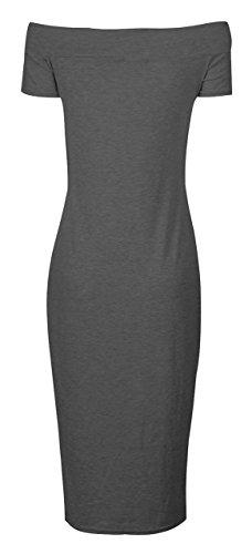 Fast Fashion - Robe De Midi De Chapeau Manchons Épaule Off Plaine Stretchy - Femmes Anthracite