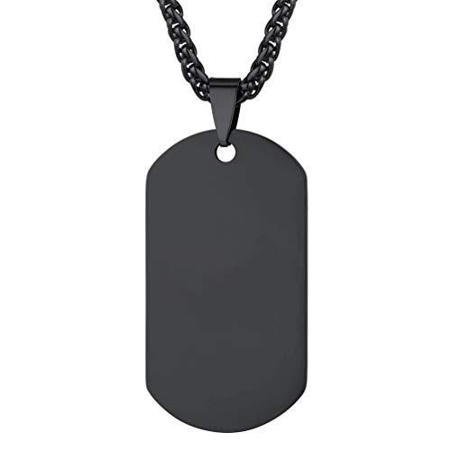 PROSTEEL Herren Halskette schwarz Edelstahl Militärische Erkennungsmarke 60cm verstellbar Weizenkette mit Dog Tag Anhänger Modeschmuck für Männer Jungen