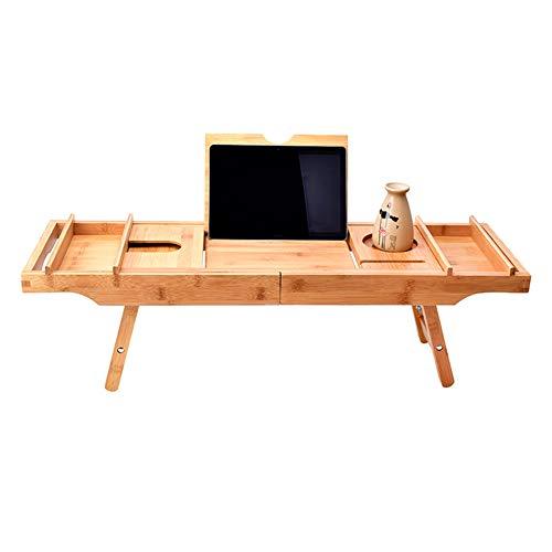 JIANGJIE 2 In 1 Badewanne Caddy Tablett Tisch Bambus Luxus Einstellbare Wasserdichte Dusche...