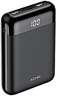 ACMIC Smallest Portable power bank 10000mAh with Dual USB QI Output ports and Led Digital display Compatible w
