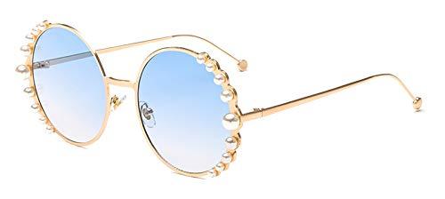 CQYYDD Luxury Womens Pearl Sonnenbrille Uv400 Runde Metallrahmen Mode Kreis Sonnenbrille Für Frauen Verlaufsglas Gold mit schwarz Gold mit blau