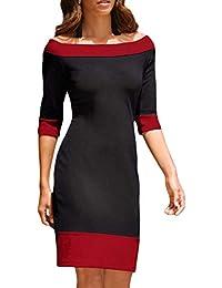 8ffac965b2b9 Yingsssq Vestito Aderente da Donna con Mini Abito da Cocktail con Spalle  Scoperte (Colore   Rosso