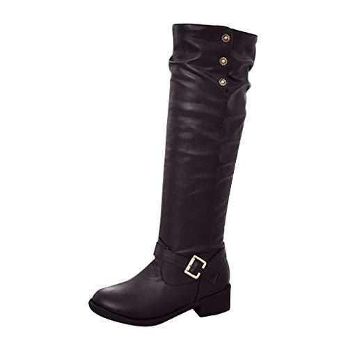 Dorical Damen Klassische Stiefel mit Blockabsatz Schnallen Flandell Chelsea Boots Warm Gefüttert Schlupfstiefel Hoch Langschaftstiefel Winterstiefel mit Schnalle Gr 35-43(Kaffee,37 EU)