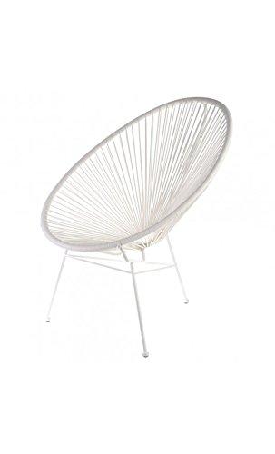Fauteuil Acapulco Blanc Acier et cordage plastique Intérieur et extérieur La chaise longue 32-M1-022B
