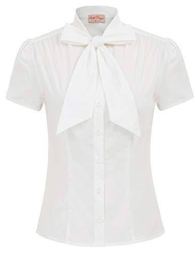 Belle Poque elegant Vintage Retro weiß Oberteil Damen Kurzarm Tops Sommer Casual Hemd M BP819-1