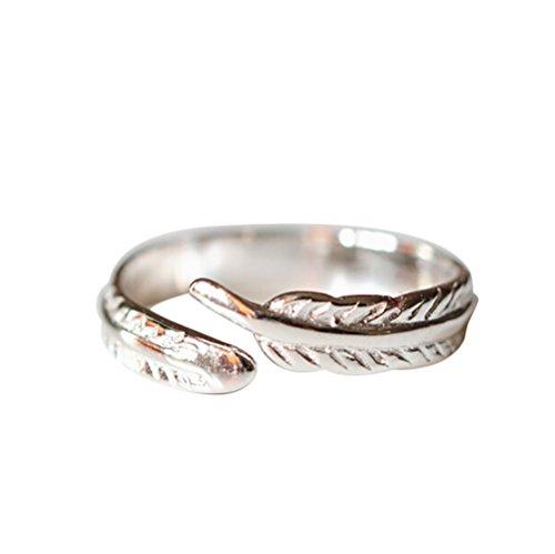 Purposefull-Anello da donna Feather design-argento Sterling 925-gioielli di moda-regolabile