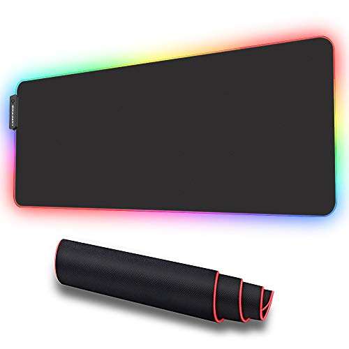 LUXCOMS RGB Soft Gaming Mauspad Groß, 7 LED Farben 10 Beleuchtungs-Modi USB Gaming Mouse Mat,rutschfeste Gummibasis Computer-Tastatur-Pad-Matte, 31.5X 11.8in(Exklusiver Patentinhaber) -