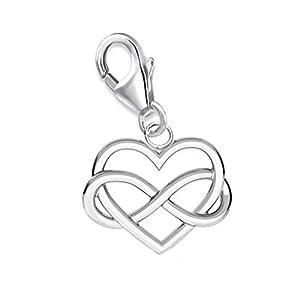 Unendlichkeit Herz Charm 925 Echt Silber Anhänger Damen Mädchen Geschenkidee