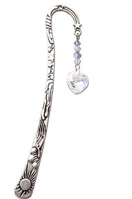 Swarovski Crystal Birthstone Pewter Bookmark with Aurora Borealis Heart SEPTEMBER - SAPPHIRE