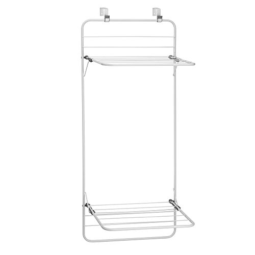 interdesign-brezio-over-door-clothing-drying-rack-for-laundry-room-storage-double-shelf-white-gray