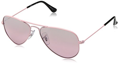 RAYBAN JUNIOR Unisex-Kinder Sonnenbrille Aviator Junior, Pink/Pinkmirrorsilvergradient, 52